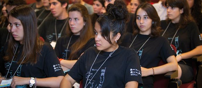 Participants en la darrera edició del Campus Científic d'Estiu VLC/Campus en la sessió d'inauguració.