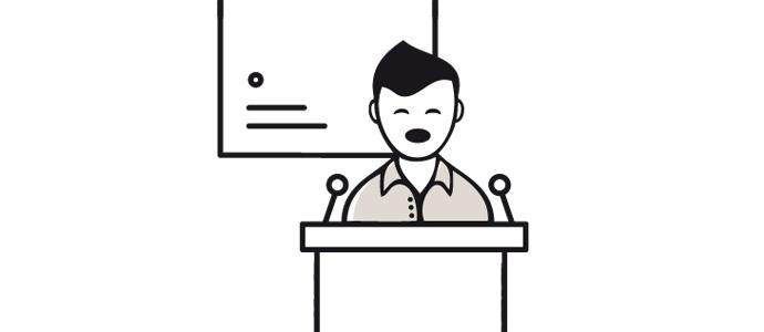 Il·lustració d'un home donant una conferència en un faristol.